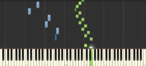 Synthesia shows you the notes as green and blue bars over a keyboard