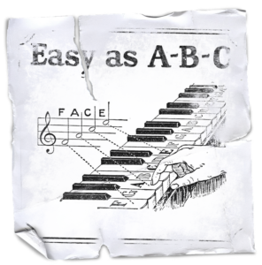 "Here is a old sheet paper with says ""Easy A-B-C a piano guide"""