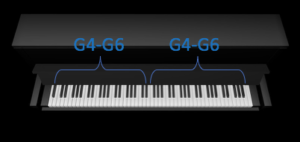 The notes on the piano in DUO mode.